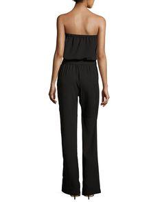 Derber Strapless Belted Jumpsuit, Black