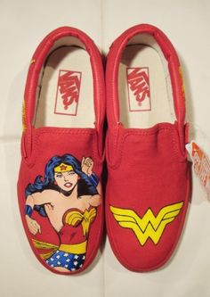 Wonder Woman Happy Shoes :). These would make me one happy woman. Js. Gotta get them.