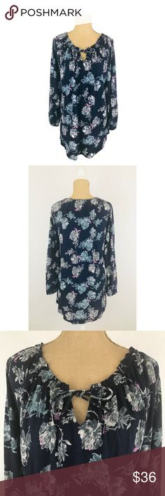Lucky Brand Top Floral Long Sleeve Linen Boho Info:Lucky Brand Top Blue Floral Long Sleeve Cotton Linen Boho Blouse - Condition: New With Tags - Tag Size: XL   *** Please see measurements below - Material: Cotton/Viscose/Linen - Care: Machine - Flat Measurements: Bust (armpit to armpit) - 23 inches (Size 46) Length - 28.5 inches - *** Any known defects (i.e. rips, stains..etc) - if present - on an item will be disclosed under item condition and highlighted in the listing photos. Lucky…