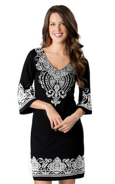 Voll® Women's Black with White Screen Print Embroidery V-Neck 3/4 Sleeves Dress | Cavender's Boot City