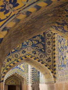 Tiled Hall and Archways. The Muslim world is rich in structures beautifully decorated with glazed tiles in abstract designs.