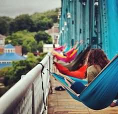Hammocks on the walnut at bridge in chattanooga. Love.