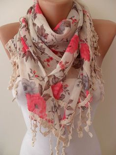 Pink and Flowered Shawl / Scarf  with Lace Edge