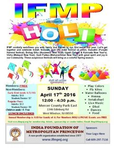 IFMP HOLI 2016 at Mercer County Park East, 1346 Edinburg Road, West Windsor Township, NJ, Tickets, Indian Events Desi Events