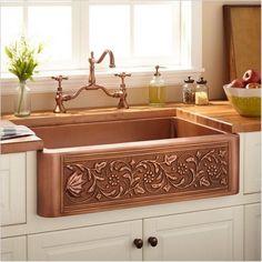 Copper Farmhouse Sinks, Farmhouse Sink Kitchen, New Kitchen, Farmhouse Style, Farmhouse Design, Farm Sink, Copper Kitchen Sinks, Tuscan Kitchen Decor, Farmhouse Decor