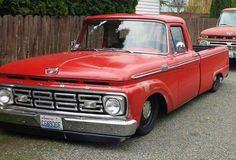 with narrowed Crown Victoria cross member and Penske coil overs. Mini Trucks, New Trucks, Custom Trucks, Cool Trucks, F100 Truck, Classic Pickup Trucks, Shop Truck, 1964 Ford, Ford F Series