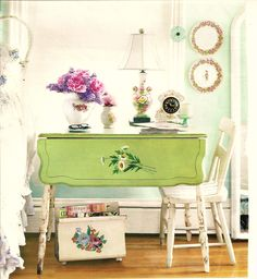 Love the old painted green drop leaf table