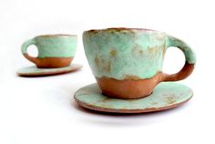 Set of Two Rustic Cups and Saucers Hand Building in by Barruntando, €38.00