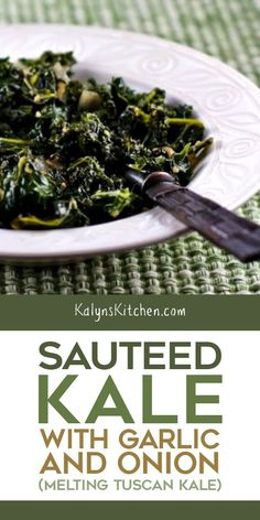 Sauteed Kale with Garlic and Onion is a perfect side dish and kale is the healthiest and greenest of all the green foods I can think of. Cooked Kale Recipes, Vegetable Recipes, Vegetarian Recipes, Cooking Recipes, Healthy Recipes, Simple Kale Recipes, Veggie Food, Healthy Eats, Healthy Foods