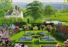 This first painting in a sequence by artist Rob Collins shows a typical British garden now