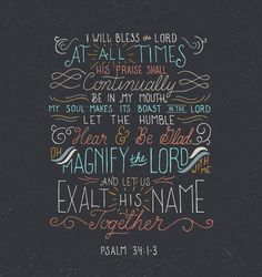 Psalm 34:1-3 Marriage purpose statement verse.