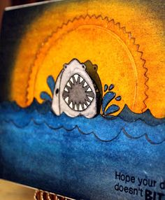 "Sunset Shark Card by Larissa Heskett   Shark Week ~ ""Shark Bites"" with Newton's Nook Designs!! =)"