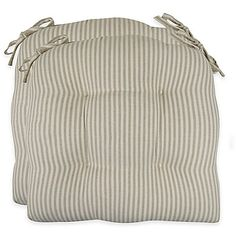 Park B. Smith® Farmhouse Stripe 16-Inch Chair Pads in Linen (Set of 2)