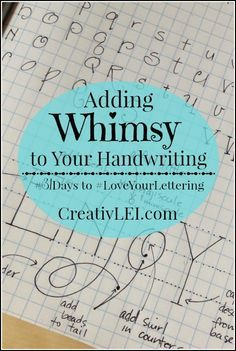 Adding Whimsy to Your Handwriting { Ready to bend the handwriting rules a little further to create whimsical lettering? You all did great with altering your letter styles yesterday, with simple changes to the bowls or slant of the letters Hand Lettering Tutorial, Hand Lettering Fonts, Doodle Lettering, Creative Lettering, Handwritten Letters, Handwriting Fonts, Calligraphy Letters, Penmanship, Brush Lettering