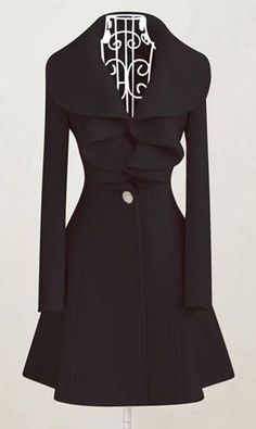 Elegant Black Long Sleeve Woolen Coats with Turndown Collar