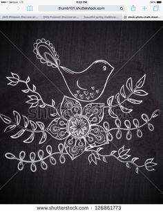 Shutterstock spring chalkboard bird and flower