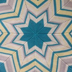 Free Knitting Pattern for Star Afghan - Easy star-shaped striped throw knit in the round. Designed by Bernat Design Studio Pictured project by PandyMamabear