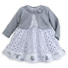 Disney Dumbo Dress Set for Baby | Disney StoreDumbo Dress Set for Baby - Dumbo circles the hem of this three-piece dress set along with fluffy clouds and little birds. The dress features a layered skirt and coordinating bloomers and is topped with a sparkling knit cardigan that will send baby's spirits soaring.