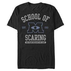 Get the Mike and Sulley approved style of the Monsters Inc. School of Scaring Black T-Shirt! A distressed print reads School of Scaring Est. 1313 We Scare Because We Care on the front of this cool black Monsters University shirt.