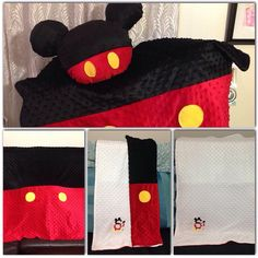 Mickey set ❤️ adorable!! Who doesn't love this mouse  #mickey #mickeymouse #minky #red #black #white #yellow #embroidery #sewing #babyblanket #pillow #throw #sewsusa @sewsusa