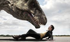Connor Temple (Andrew Lee Potts) comes face to face with a terrifying t-rex. Just love this photo