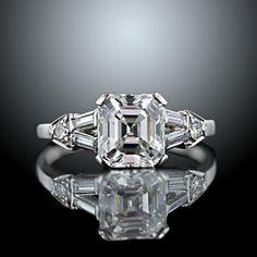 asscher cut diamond deco engagement ring