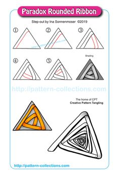 Paradox Rounded Ribbon by Ina Sonnenmoser Easy Zentangle Patterns, Trippy Patterns, Zen Doodle Patterns, Doodle Borders, Zentangle Drawings, Doodles Zentangles, Doodle Drawings, Tangle Doodle, Tangle Art