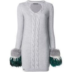 Philipp Plein Kiss Round sweater dress (14.345 NOK) ❤ liked on Polyvore featuring dresses, grey, gray long sleeve dress, long sleeve dress, short dresses, long sleeve short dress and cable knit sweater dress