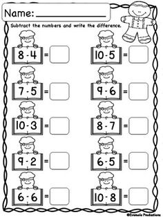 Christmas Math - Adding and Subtracting Within. by Eversole Productions Christmas Math Worksheets, Kindergarten Addition Worksheets, Addition And Subtraction Worksheets, Math Subtraction, Printable Preschool Worksheets, Kindergarten Math Worksheets, Preschool Math, In Kindergarten, Math For Kids