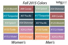 Women and Men's Fall 2015 Colors