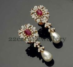Jewellery Designs: Pretty Diamond Pearls Earrings