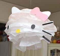 Use a white pom pom and add your own extras to make this Hello Kitty decoration Sanrio Hello Kitty, It's Your Birthday, Girl Birthday, Birthday Parties, Birthday Ideas, Ballerina Birthday, Princess Birthday, Decoracion Hello Kitty, Hello Kitty Birthday