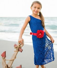 Love this Royal Lace Bow Asymmetrical Dress - Toddler & Girls by Mia Belle Baby on #zulily! #zulilyfinds