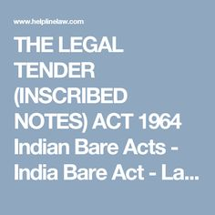 THE LEGAL TENDER (INSCRIBED NOTES) ACT 1964 Indian Bare Acts - India Bare Act - Law Firm Lawyers India
