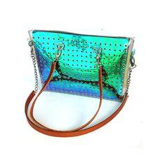 Laptop bag iridescent laptop bagholographic shopper by YPSILONBAGS
