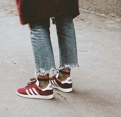 Adidas gazelle °° fishnet socks