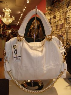 White Handbag w/ Fushia Pink interior lining