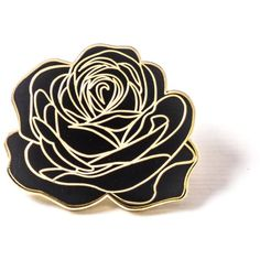 Dedication Rose Pin Black and Gold PINTRILL ($15) ❤ liked on Polyvore featuring jewelry, brooches, pins, black gold jewelry, pin jewelry, rose jewellery, rose jewelry and black and gold jewelry