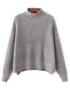 Grueso suéter de cuello Mock - Gris Única Talla