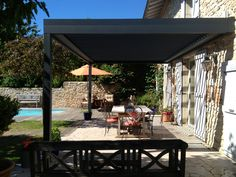 There are lots of pergola designs for you to choose from. You can choose the design based on various factors. First of all you have to decide where you are going to have your pergola and how much shade you want. Pergola Alu, Pergola Canopy, Outdoor Pergola, Pergola With Roof, Wooden Pergola, Pergola Plans, Outdoor Pool, Outdoor Decor, Gardens