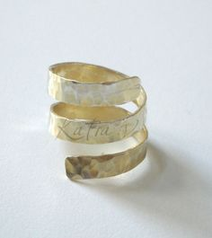 handmade bronze ancient greek spinning around 24ct gold plated ring - adjustable ring.