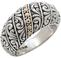 Samuel B. Sterling Silver  18K Gold Balinese Design Ring