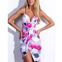 $16.14  Deep V Neck Backless Spaghetti Strap Floral Asymmetrical Dress