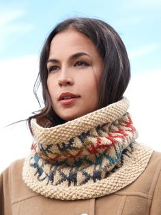 Free Pattern - Bundle up in style with this cozy #knit cowl, featuring an on-trend Aztec-inspired pattern.