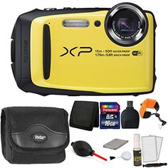 """Fujifilm FinePix XP90 16MP Waterproof Digital Camera + Accessory Bundle Yellow. 16.4MP 1/2.3"""" CMOS Sensor, Fujinon 5x Optical Zoom Lens,28-140mm (35mm Equivalent). Water, Shock, Freeze, and Dustproof, Full HD 1080p Video Recording at 60 fps, 3.0"""" 920k-Dot LCD Monitor. Built-In Wi-Fi Connectivity Sensor-Shift Image Stabilization, ISO 6400 and 10 fps Continuous Shooting. Action Camera Mode & Motion Panorama. This Listing Includes the Following: Fujifilm FinePix XP90 16 MP Waterproof Digital..."""