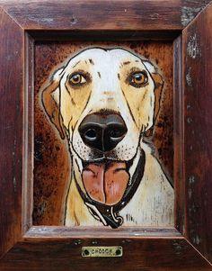 Custom woodburning pet portrait by WoundedWood on Etsy, $160.00