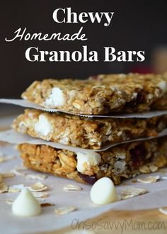 I made several modifications, baked, modified again, and ended up with the perfect chewy homemade granola bar!!! For those without nut allergies feel free to make them a little nutty. :)