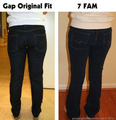 This is SO INTERESTING: A comparison of inexpensive jeans (Gap, Old Navy, etc.) to more expensive jeans and how they compare in fit and cut... This gal tries on a number of pairs, takes pics, and comparies them. Really, really interesting!