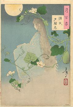 「月百姿」。『源氏夕顔巻』に描かれた幽霊。(月岡芳年画。1886年)Woman ghost
