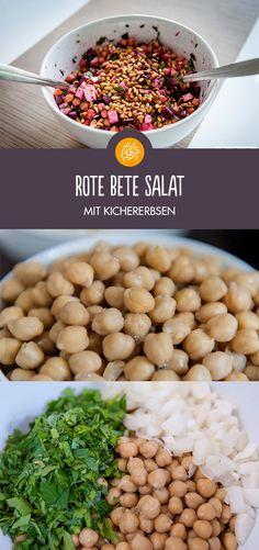Leckerer rote Bete Salat mit Kichererbsen.